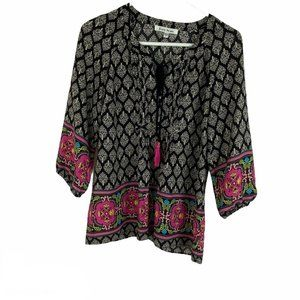 Black Rainn Black Pink Boho Tasseled Blouse S